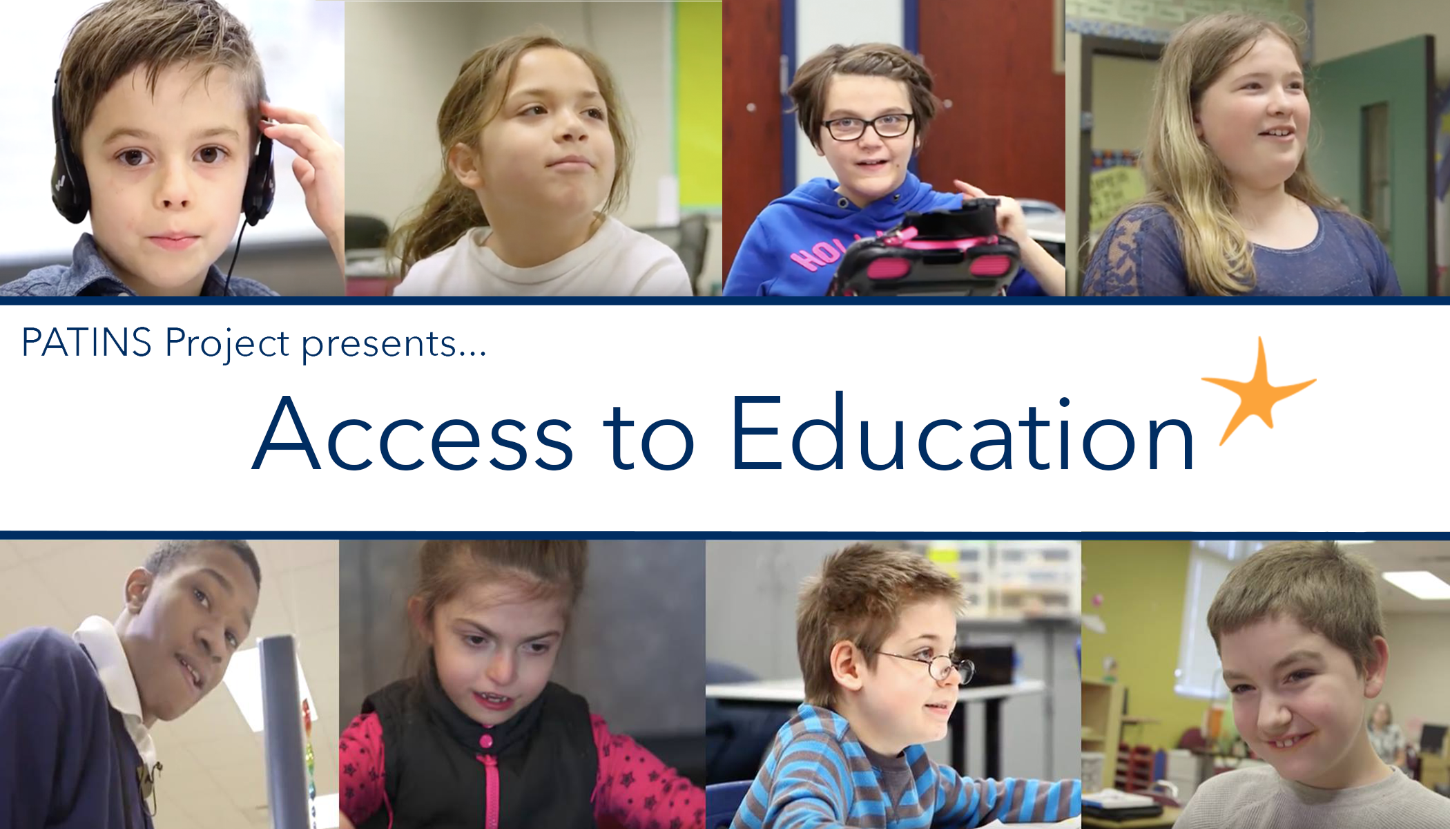 PATINS Project presents Access to Education logo with student portraits