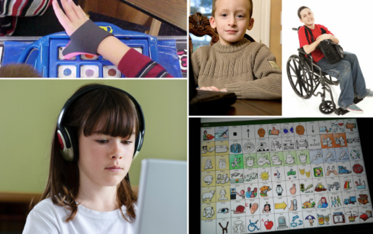 collage of student using AAC devices or AT