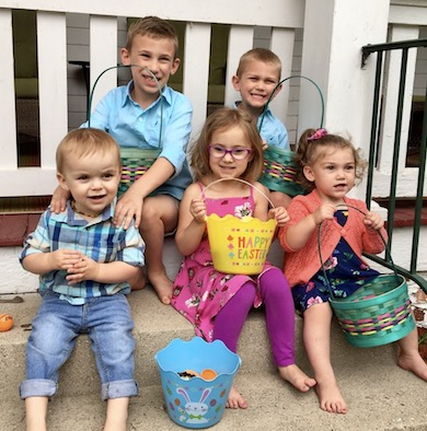 Jeff's 5 grandchildren on Easter