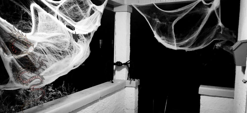 Image of porch with spider webs, dragon, and big spider