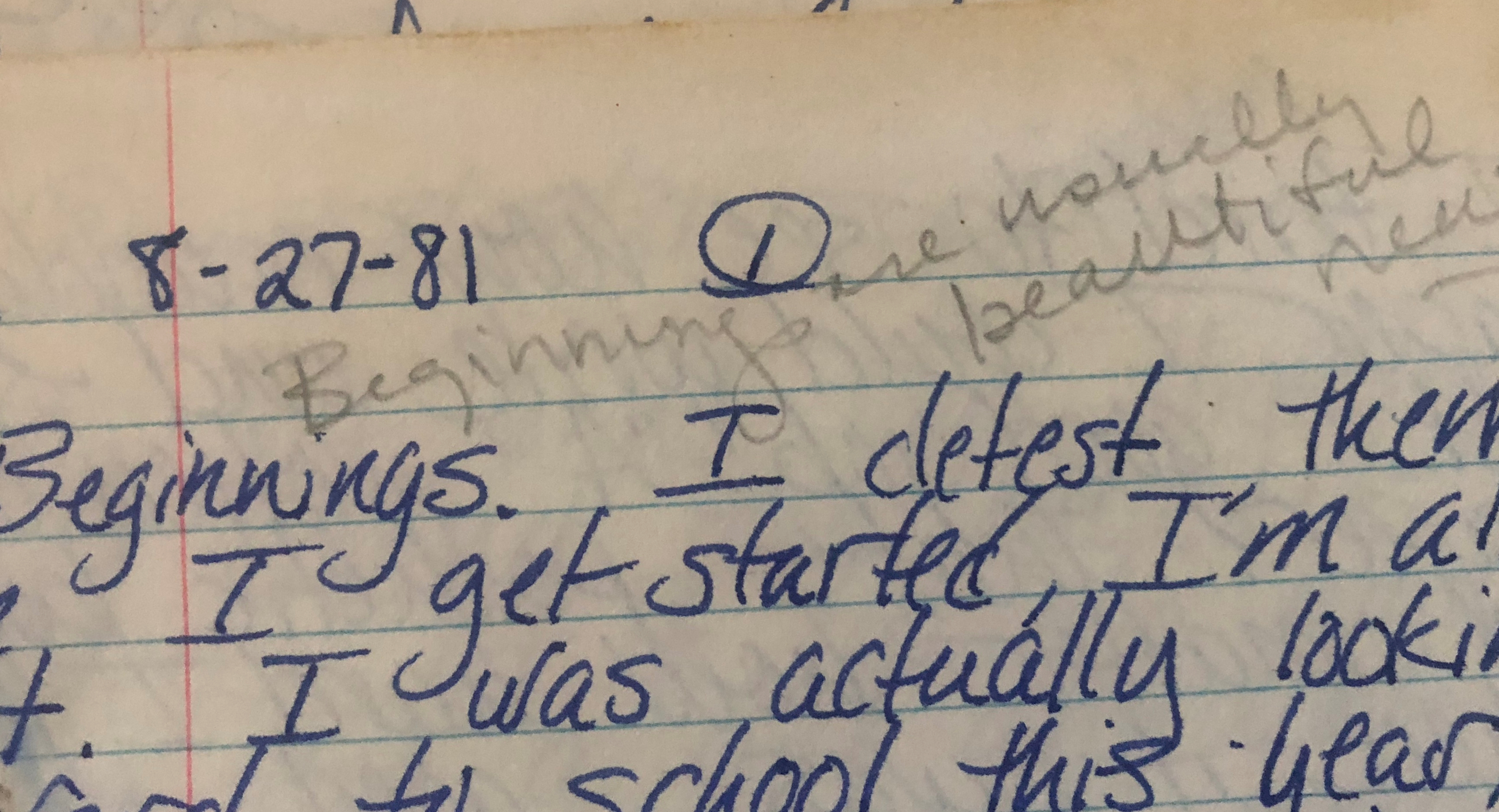 photo of Bev's creative writing journal from 1981