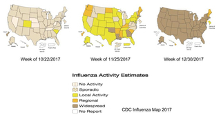 Influenza Activity Estimates Indiana and much of the nation have sporatic outbreak in October. In November Indiana is still sporatic but other states are showing local activity.  By December all contiguous states show widespread flu reports.