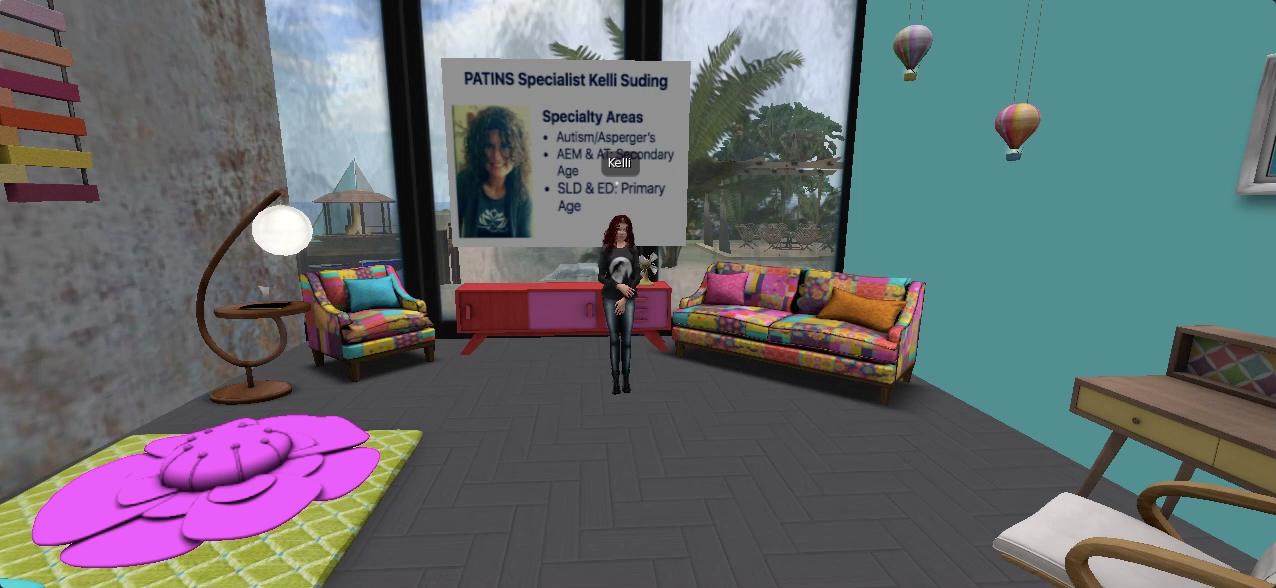 Kelli's avatar in her Second Life office