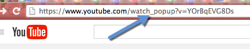 screenshot of browser address bar with _popup added between the word watch and the ?