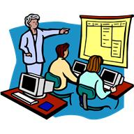 clipart of individuals training on a computer