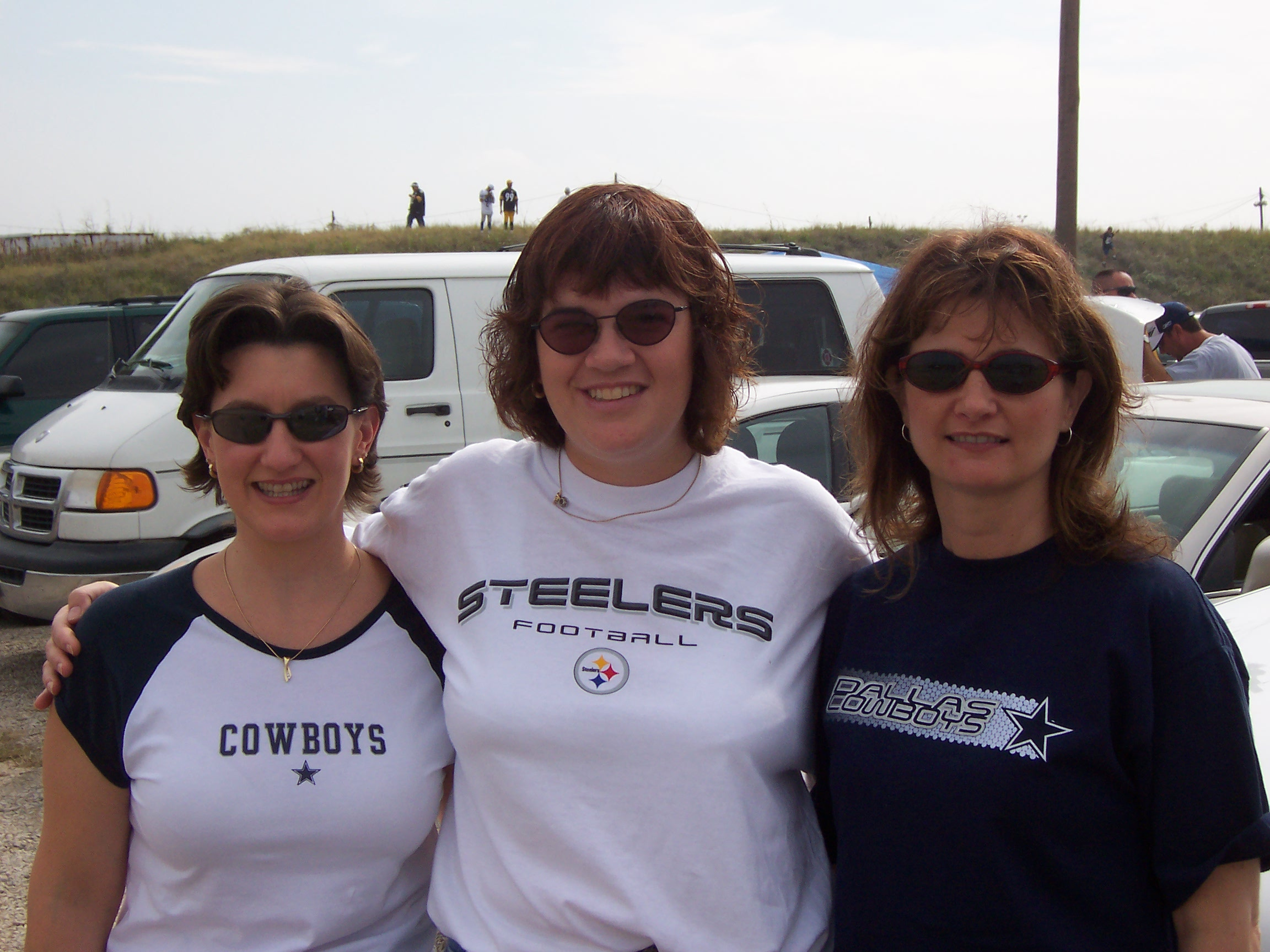 Sandy with Dallas Cowboy fans.