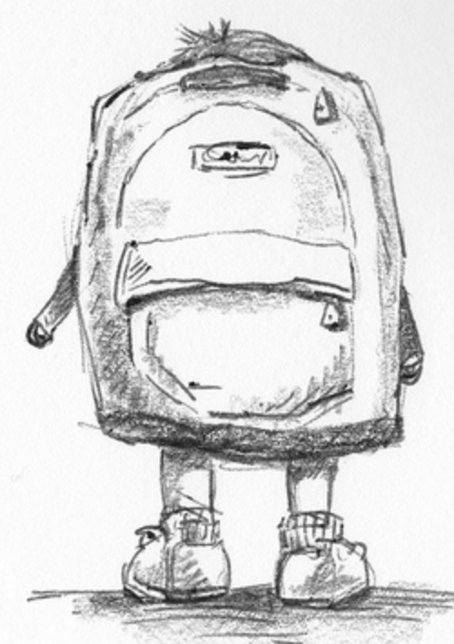 sketch drawing of a child facing away with a large backpack covering his/her back.