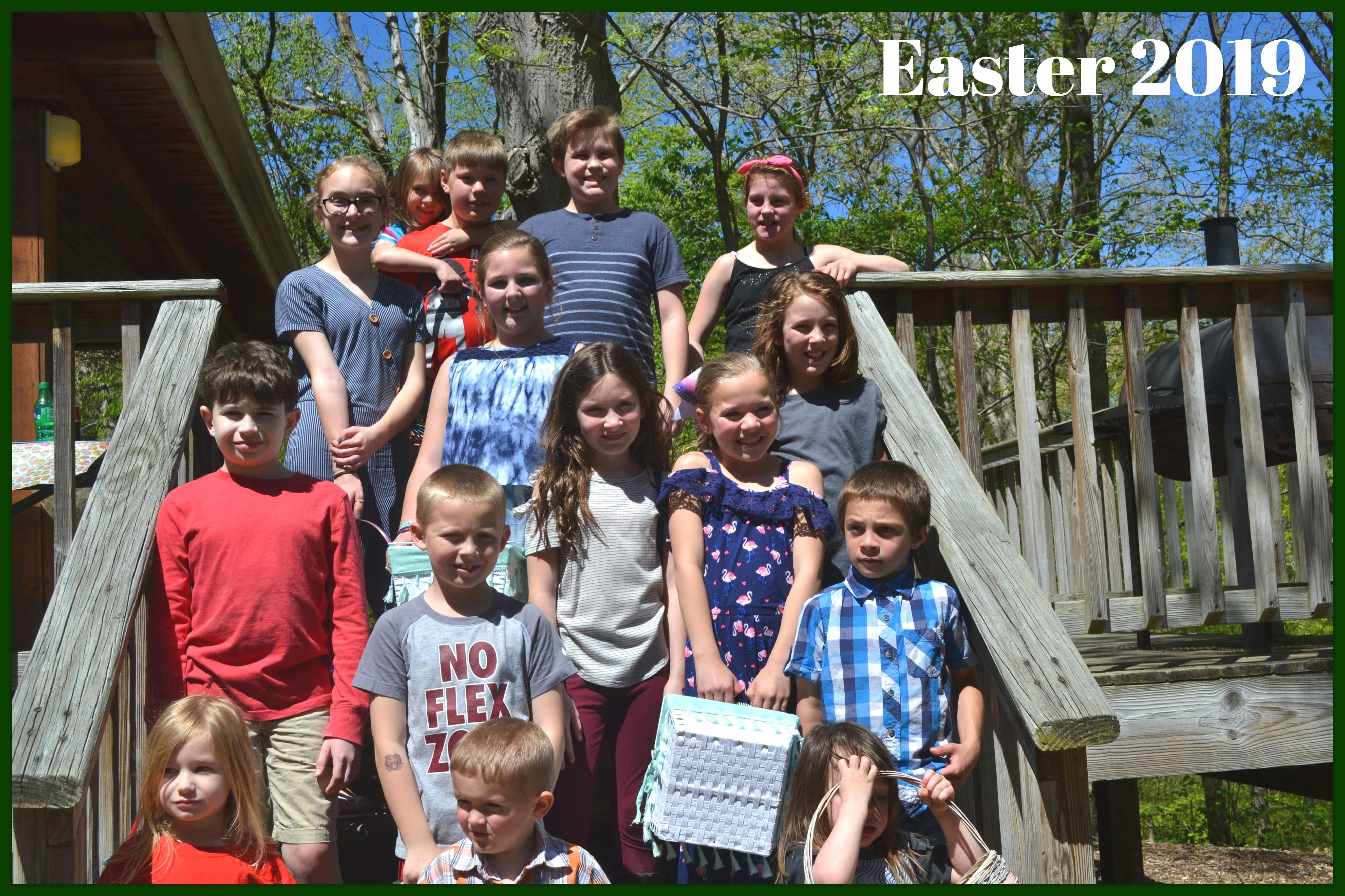 Group of kids at Easter.