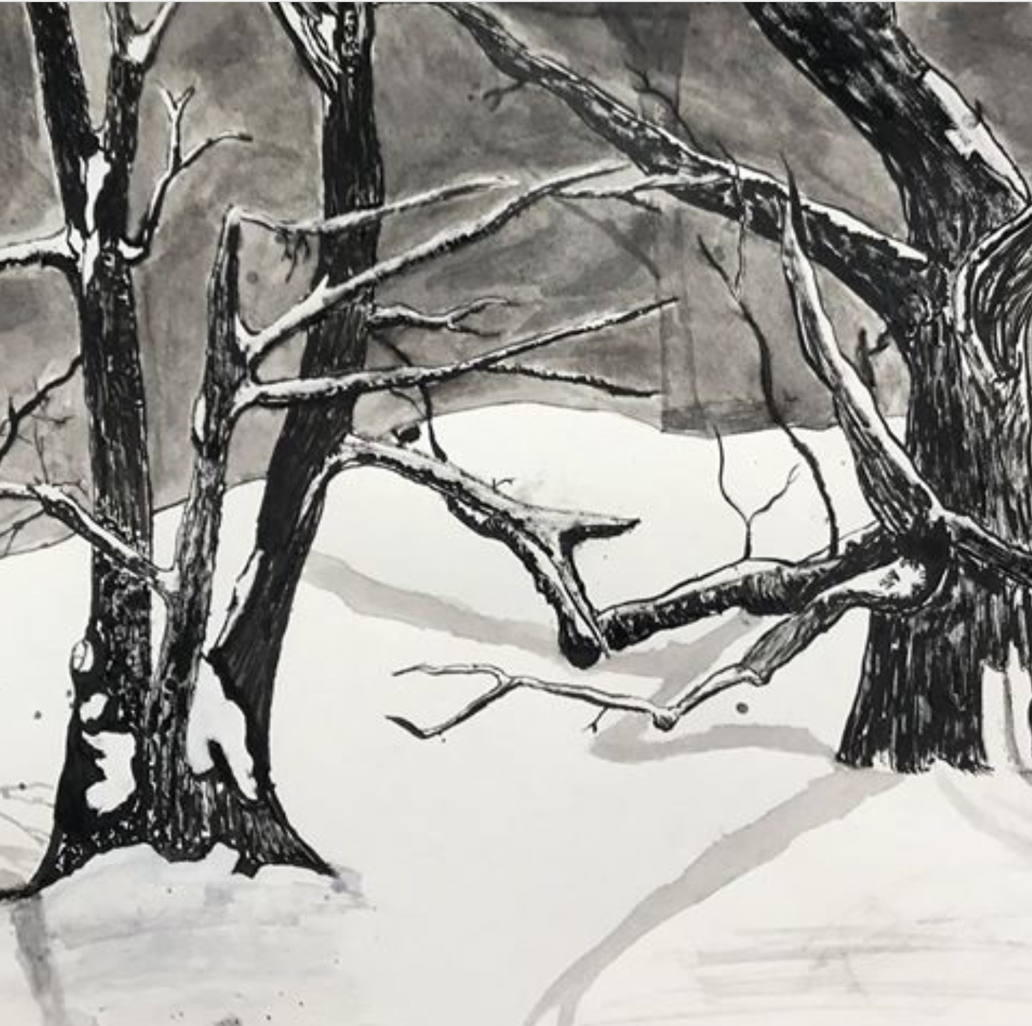 painting created by high school student of bare trees with snow and shadows