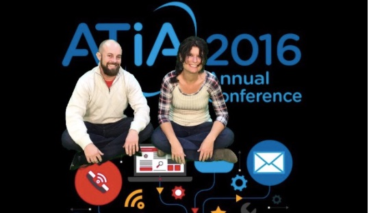 Daniel McNulty and Kelli Suding pictured with ATIA 2016 background