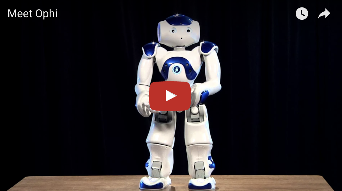 Play YouTube video introduction of the PATINS robot, Ophi