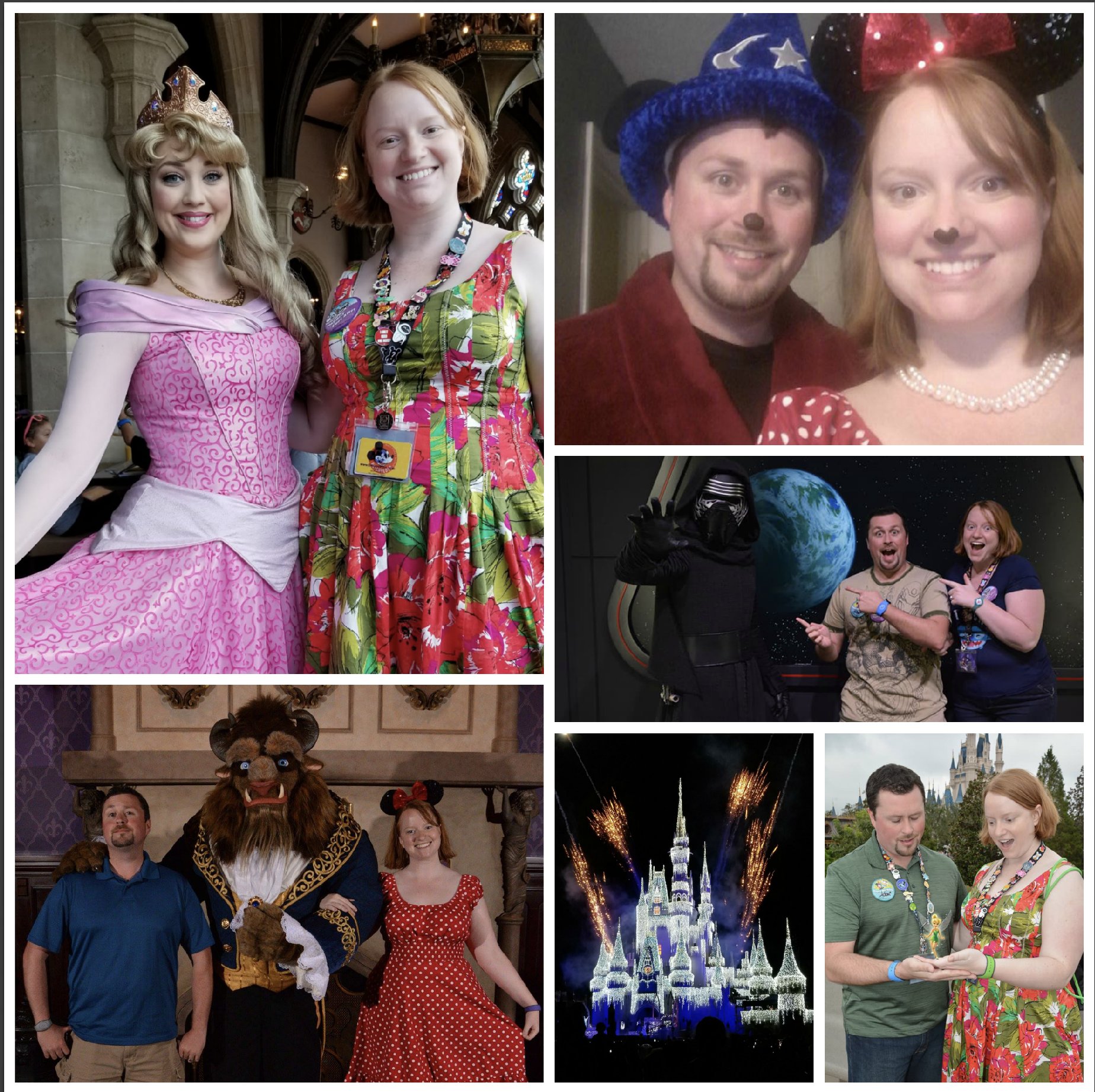 collage of Jessica with Sleeping Beauty, Jessica and Adam dressed as Mickey and Minnie Mouse, Jessica in Minnie Mouse costume with the Beast, Cinderella's Castle with fireworks, Jessica and Adam with Tinkerbelle