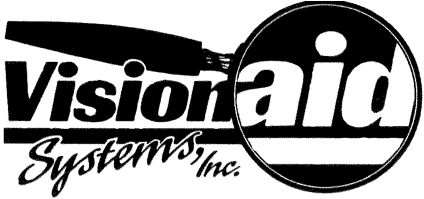 "Logo for Vision Aid Systems Inc. with magnifying glass over the word ""aid""."