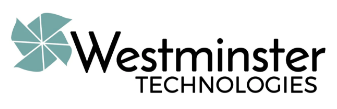 Logo for Westminister Technologies with light green stylized pinwheel.