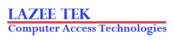 Logo for LaZee Tek Computer Access Technologies with red line.