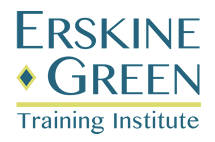 Logo for Erskine Green Training Institute with lime green line and diamond.