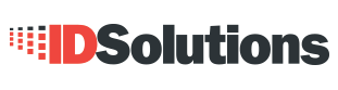 "Logo for ID Solutions with red and black font and pixels coming out of the ""I""."