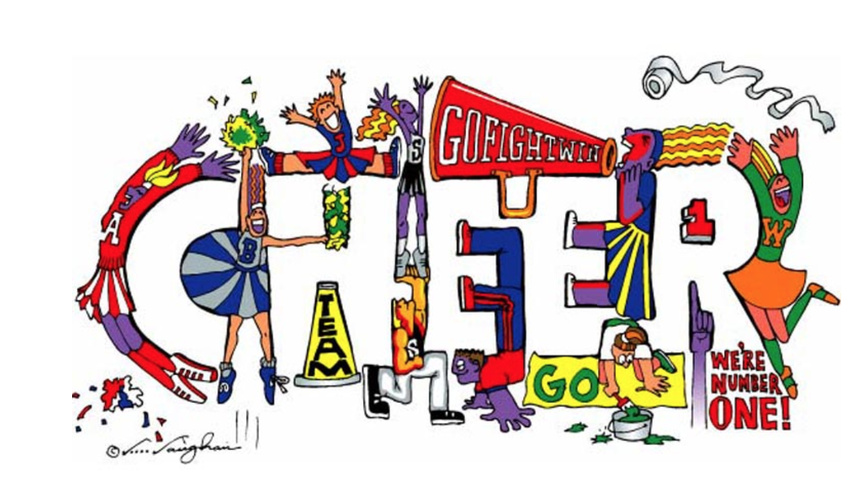 Cheer sign with many cartoon figures celebrating