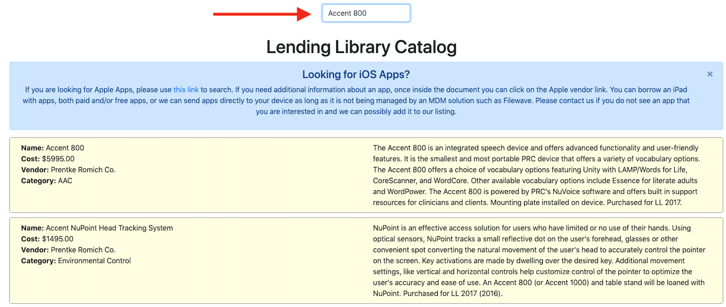 Lending Library catalog with