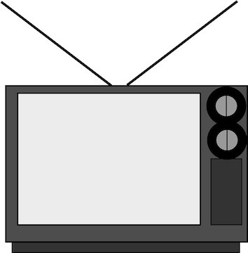 TV with Rabbit Ears on top in the shape of a V