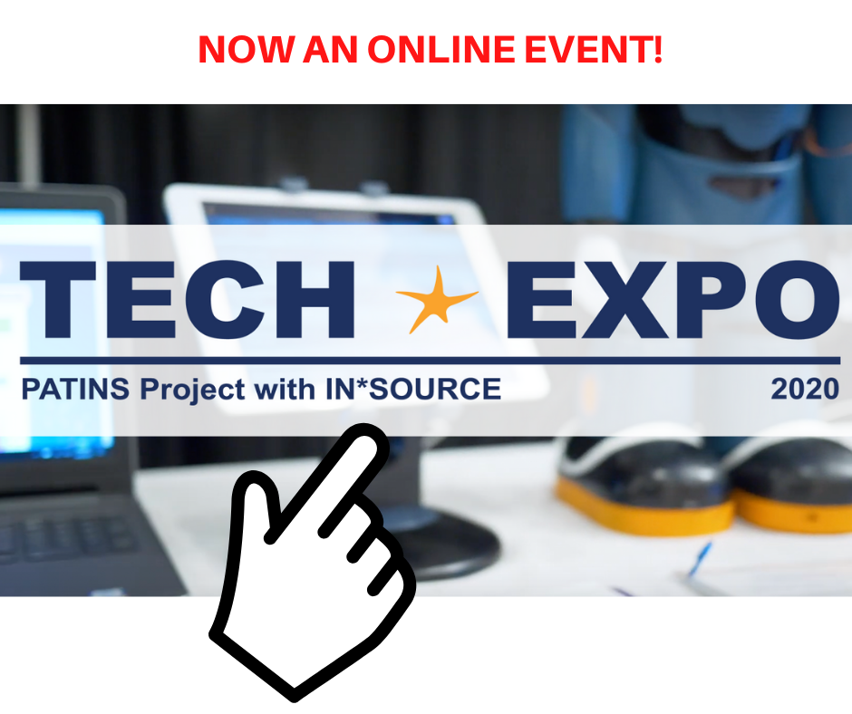 Now an online event. PATINS Project Tech Expo 2020 with Insource logo.