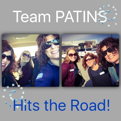 Kelli Suding, Rachel Herron & Jessica Conrad are pictured with the words team PATINS hits the road