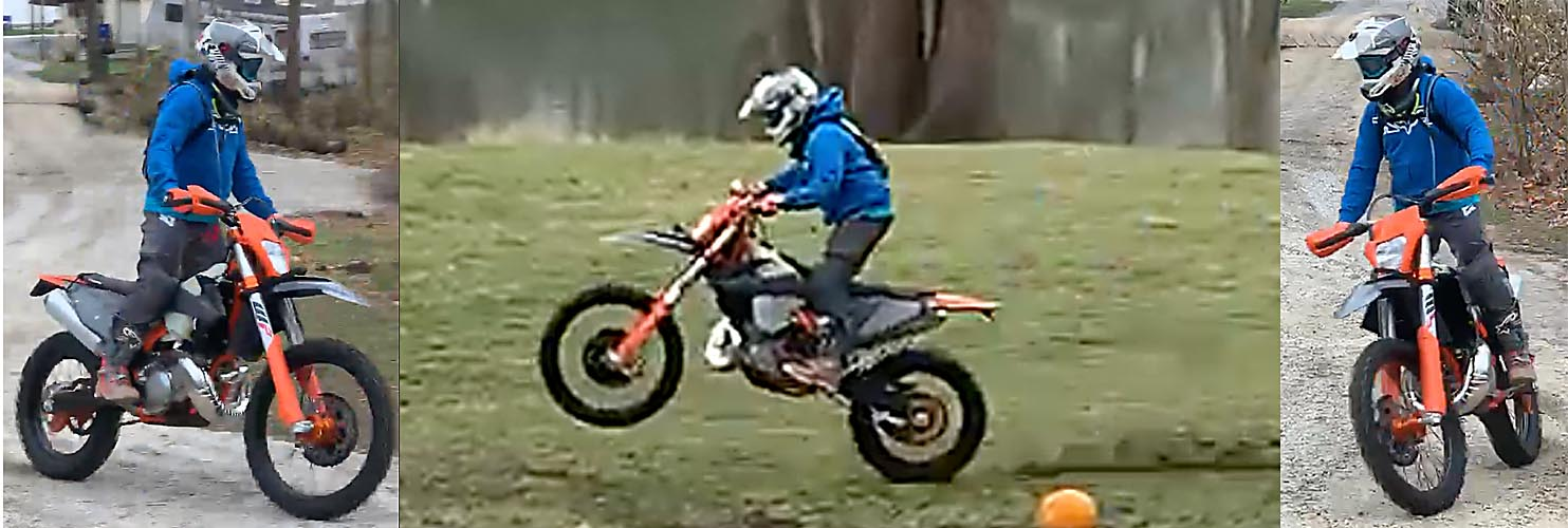 3 Image collage of Daniel riding dirtbike