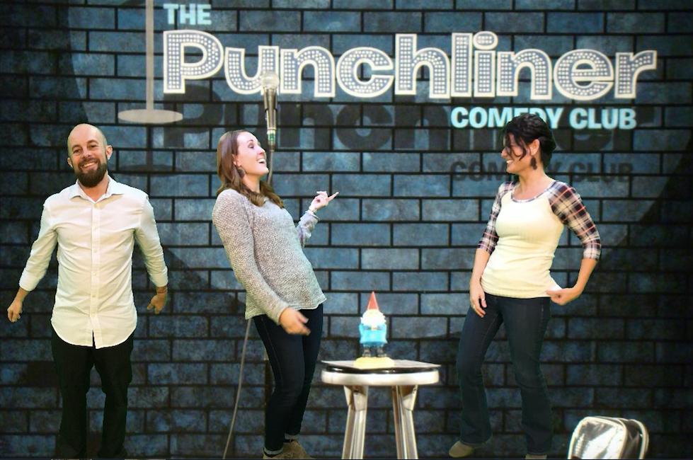 Daniel McNulty, Jena Fahlbush, and Kelli Suding posing in front of The Punchliner Comedy Club backdrop