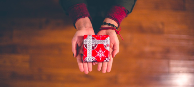 a person's open hands holding a small wrapped giftbox