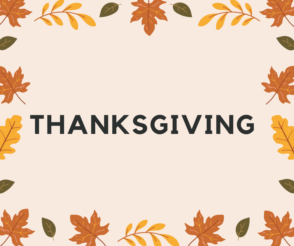 Cream and Brown Autumn leaves Background with the word Thanksgiving in uppercase letters