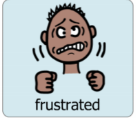Boardmaker symbol of frustrated young man with the printed word frustrated