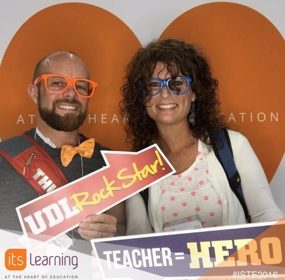 Daniel McNulty and Kelli Suding posing with the words UDL Rock Star and Teacher equals Hero