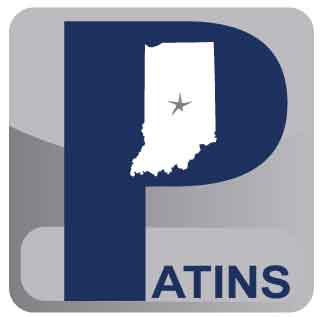 PATINS logo which has a grey background, the word PATINS, and a white graphic of the state of Indiana with a star in the middle.