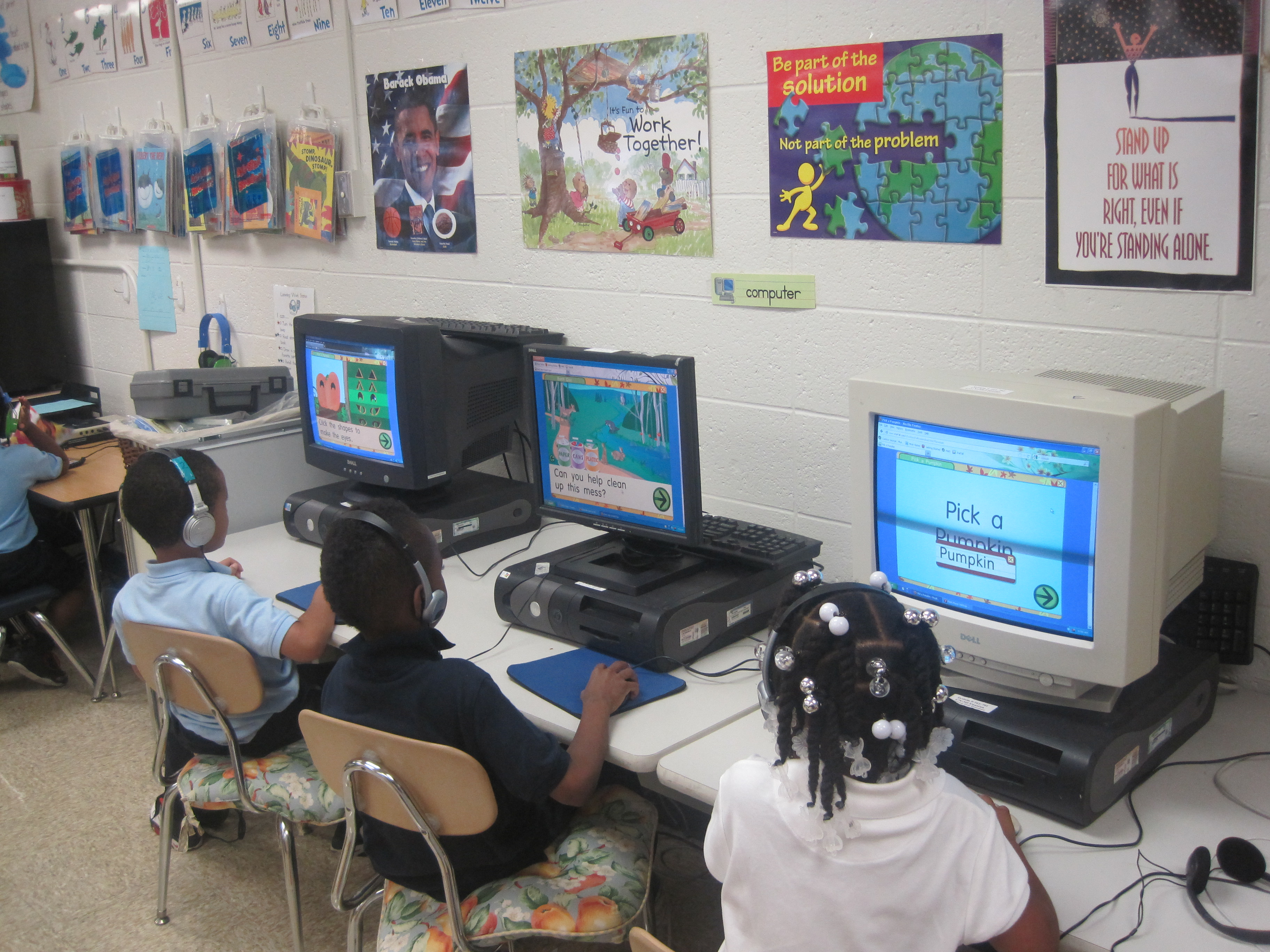 This is a picture of students using computers from the PATINS Project Refurbished Computer Program.
