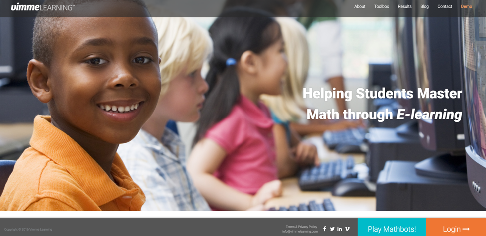 Vimme Learning home page with smiling student.
