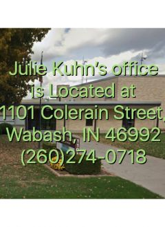 Julie's office is located at 1101 Colerain Street, Wabash, IN 46992. Phone number 260-274-0718